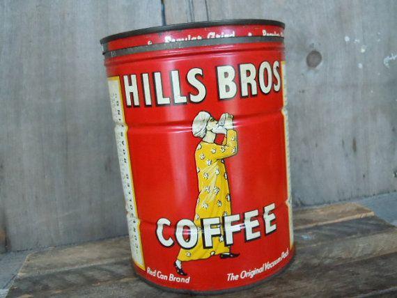 Vintage Coffee Tin Hills Bros. Can Cottage by AMarigoldLife, $12.00