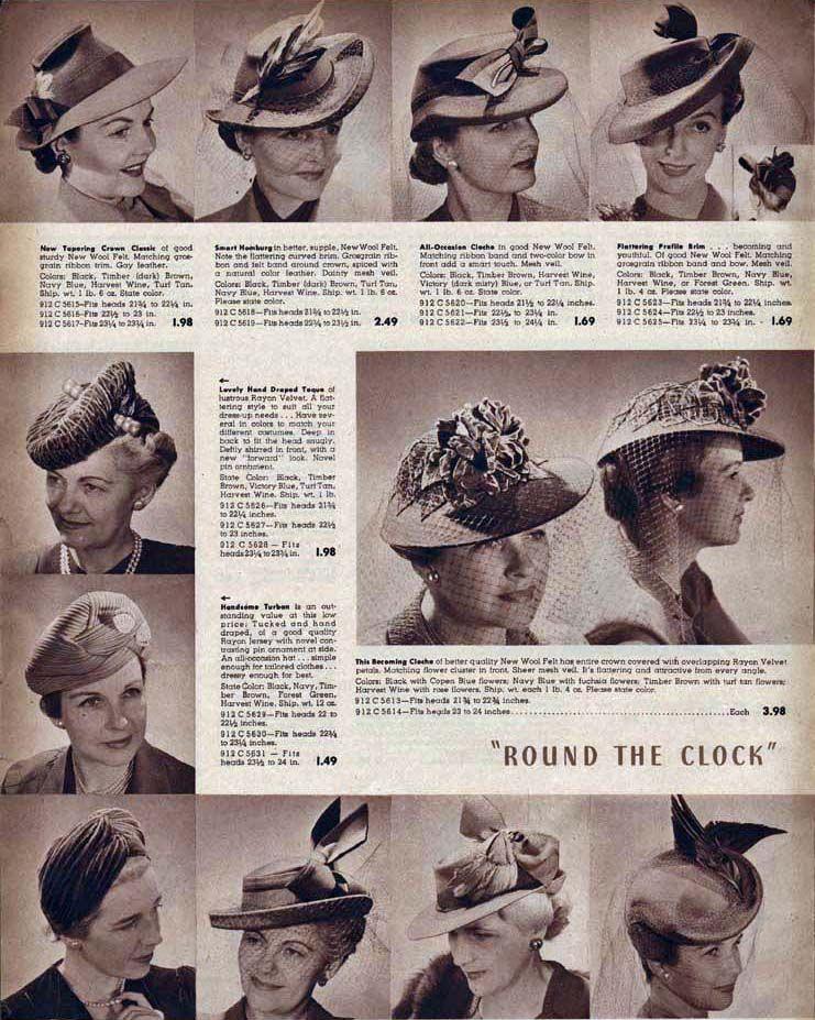 7dc1f9d41478d 1942 Hats Catalog Page  6 vintage fashion style hats 40s war era photo print  ad catalog