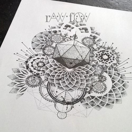 35 Spiritual Mandala Tattoo Designs: Therawflow: Abstract Dotwork Mandala Tattoo With Gears And