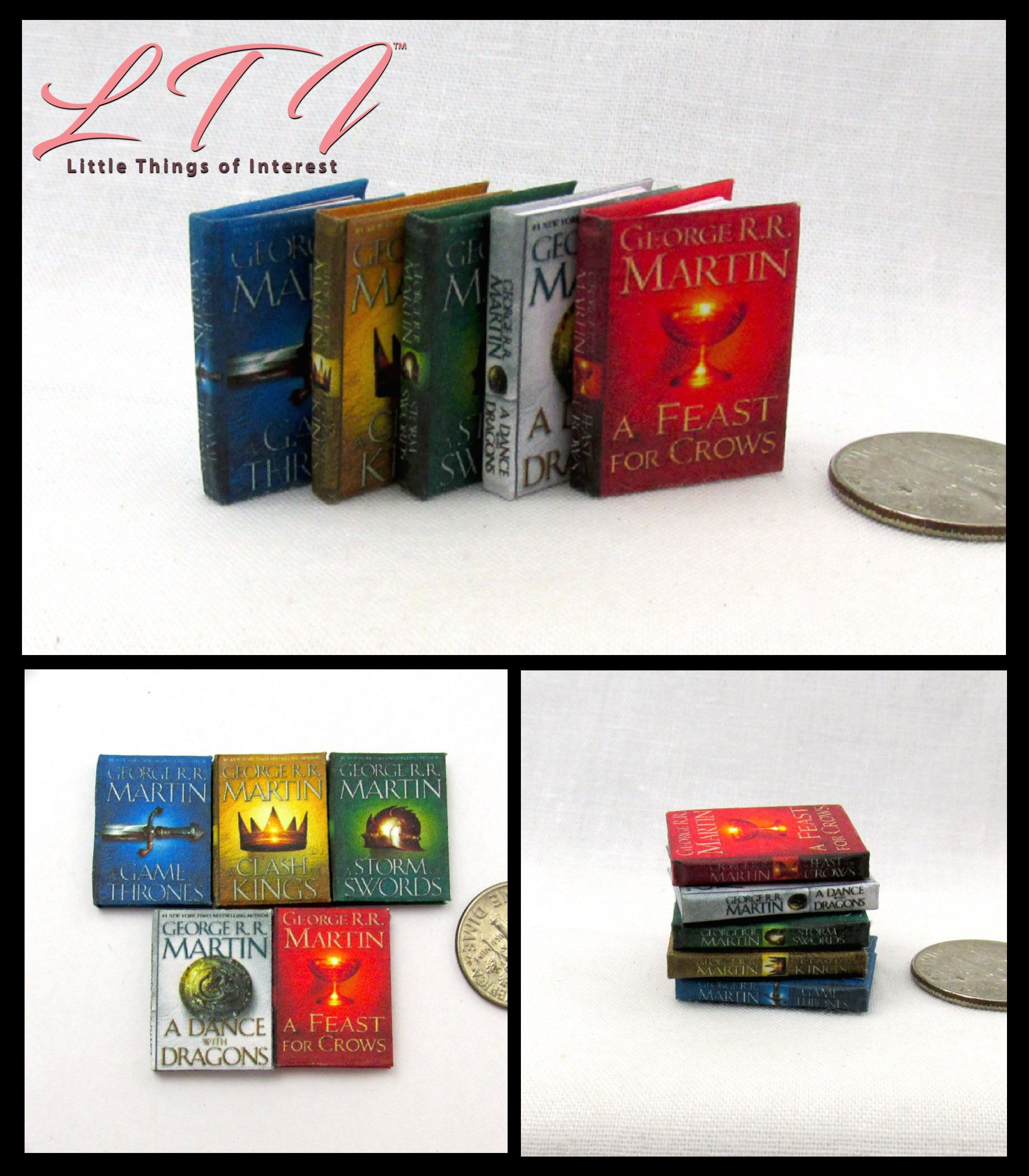 Game Of Thrones Set Of 5 1 12 Doll Scale Books A Song Of Ice And