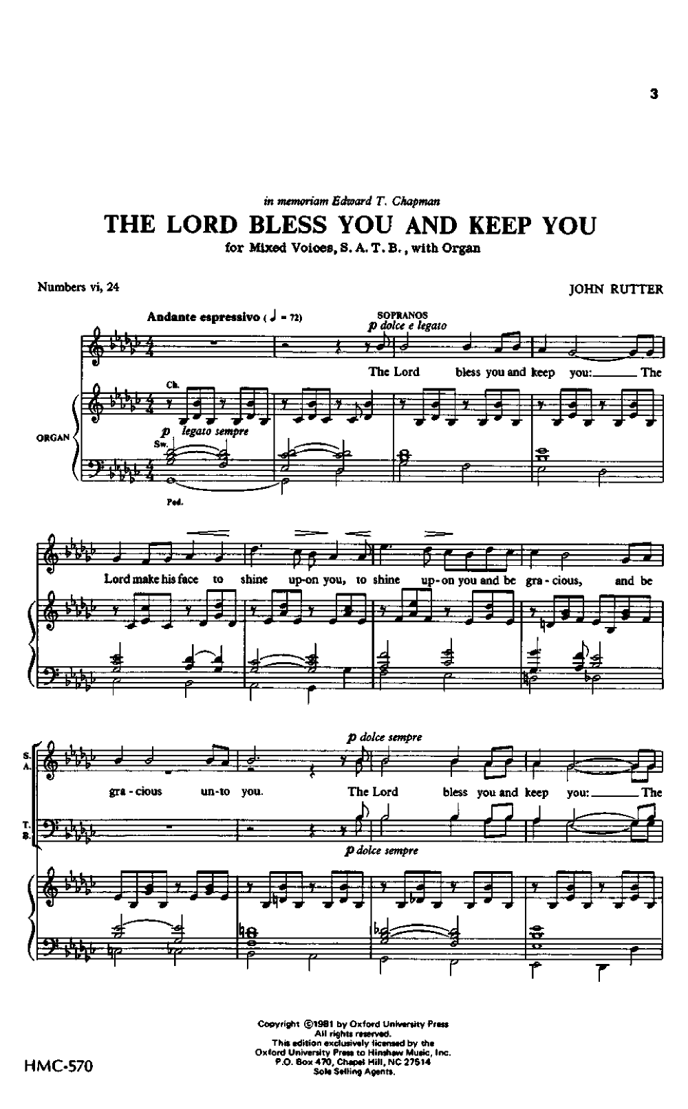 The Lord Bless You And Keep You Satb By J J W Pepper Sheet Music 교육