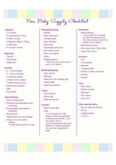 New Baby Supply Checklist | Baby supplies, Babies and Baby checklist