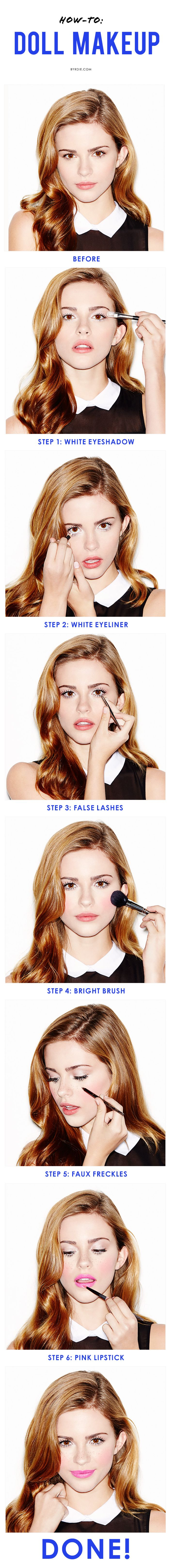 6 steps to the prettiest doll makeup look with an easy tutorial.