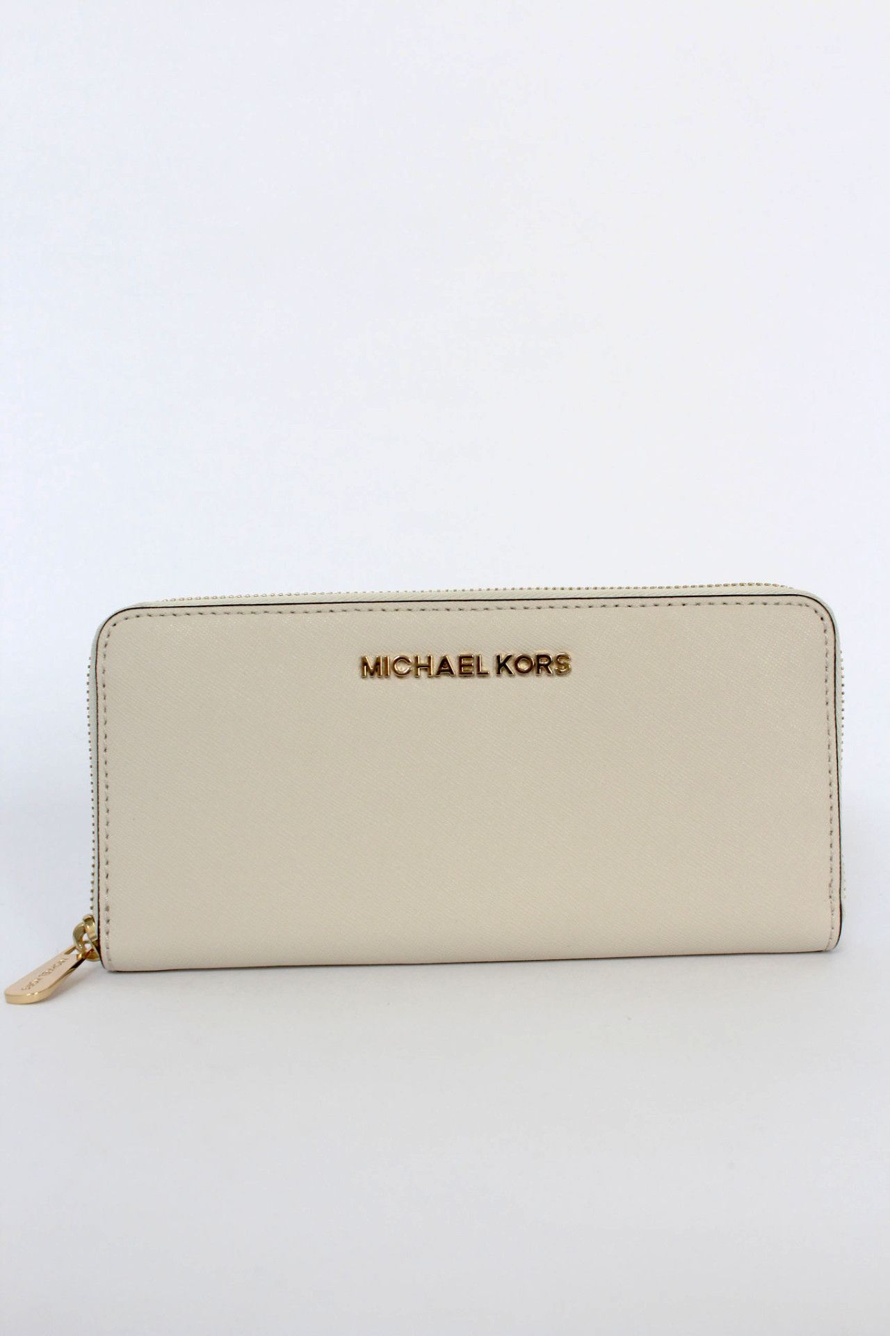 f454692a186c Michael Kors Jet Set cream saffiano leather zip around wallet with goldtone  hardware