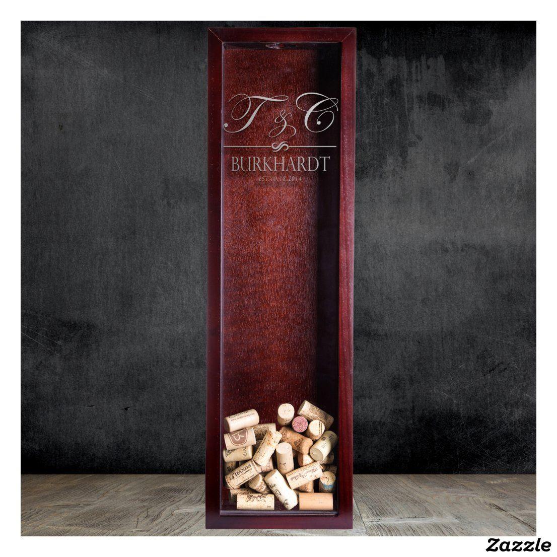 Initial Monogrammed Wine Cork Holder Shadow Box Zazzle Com In 2020 Wine Cork Holder Cork Holder Wine Cork
