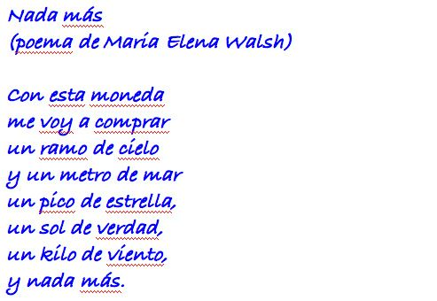 Nada Más By Maria Elena Walsh Read This In My Spanish Class