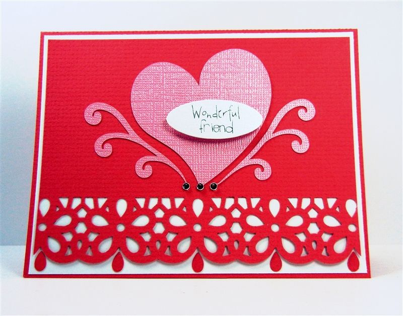 punched border valentine card  valentines cards punch