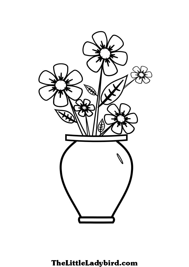 Pin by Diane Moffett Green on Any Day | Flower line ... | colouring pages flowers in a vase