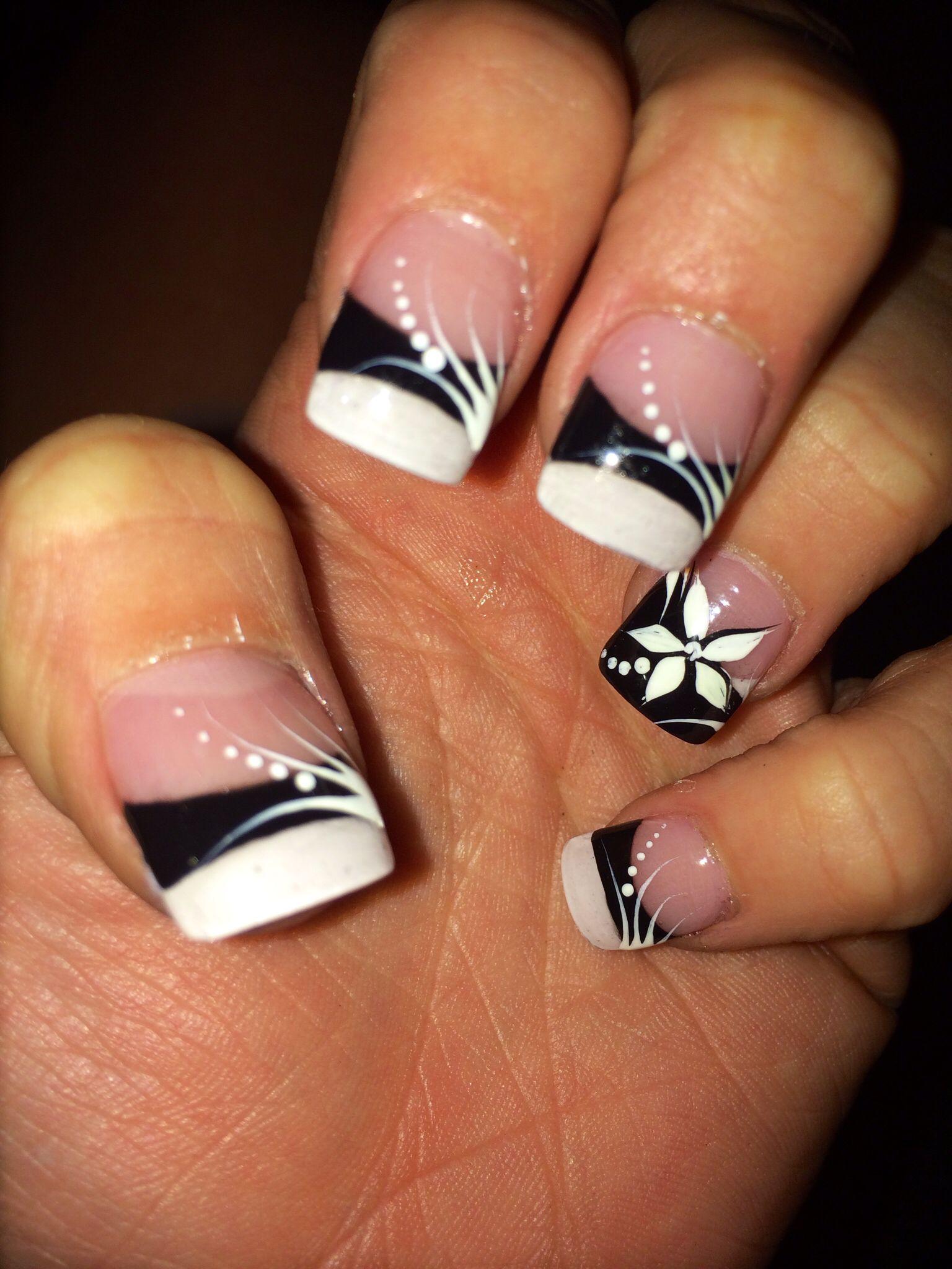 Navy Blue White Flower Nail Design My Nails Pinterest Flower