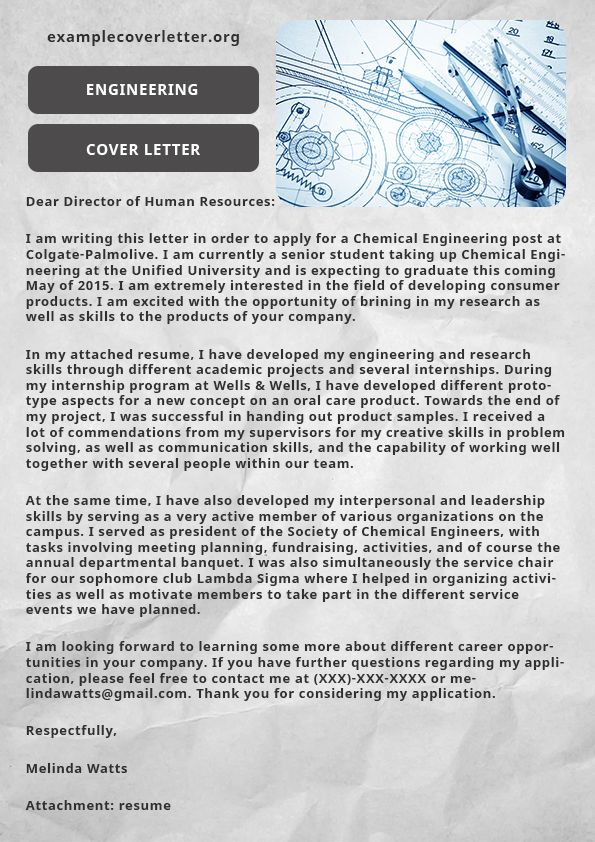 This sample presentation presents Engineering cover letter sample - engineering cover letters