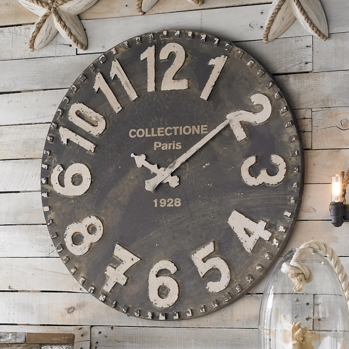 Am americana country wall clocks - Earth De Fleur Homewares Rustic Metal Wood Beach Decor Wall Clock Pink Wall Clocks Pinterest Wall Clocks Clocks And Metals