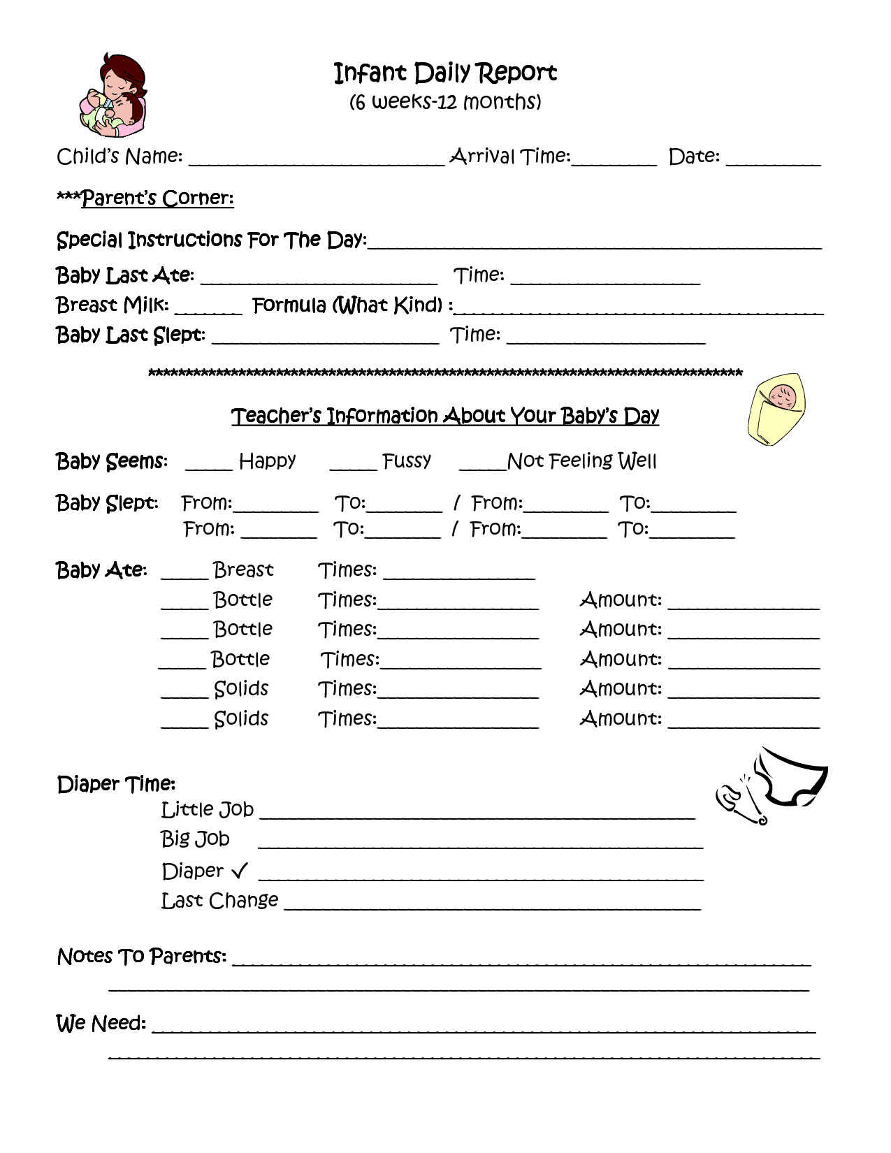 infant daily report inhome day care forms Pinterest