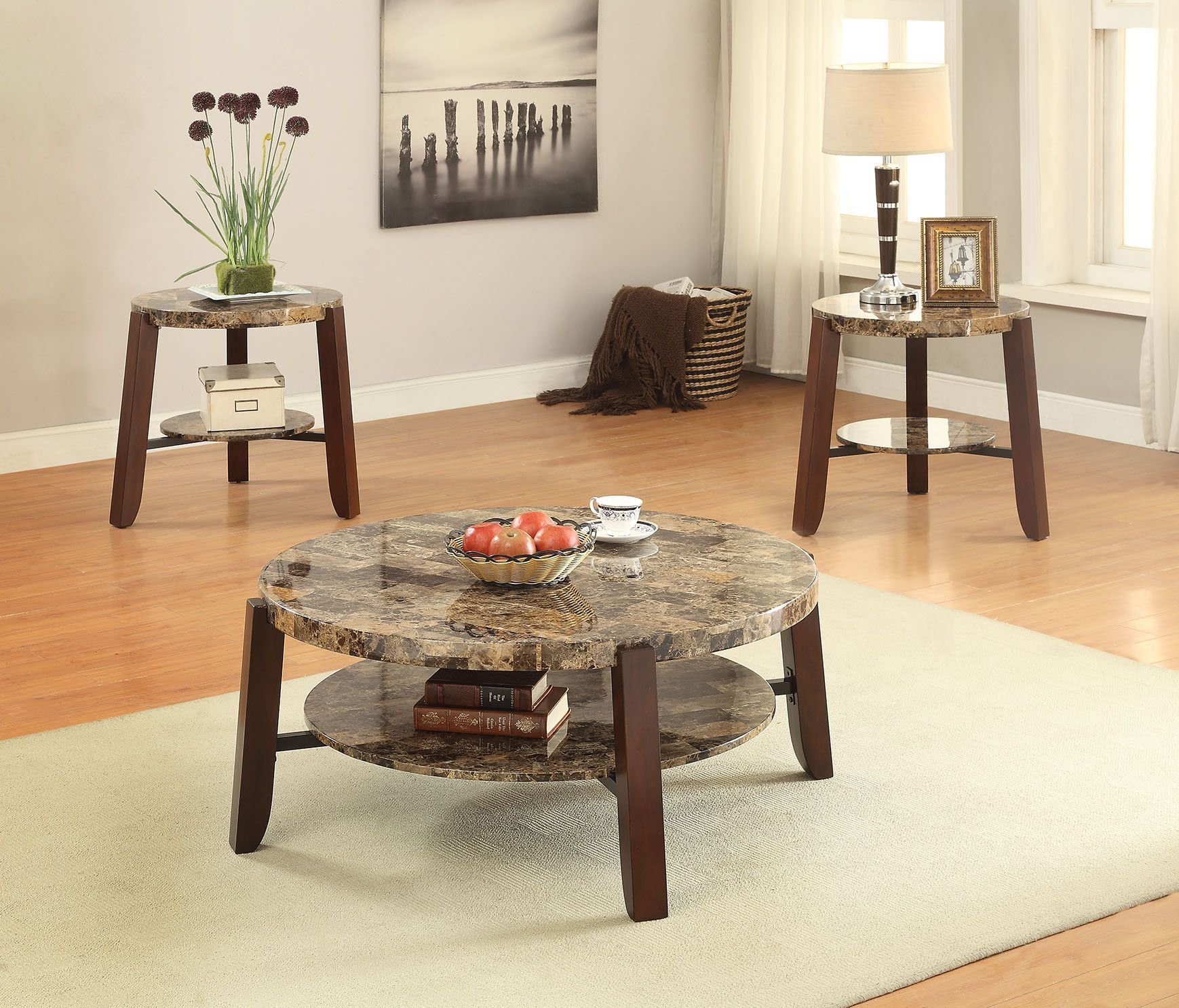 Acme lilith end table faux marble cherry coffee table