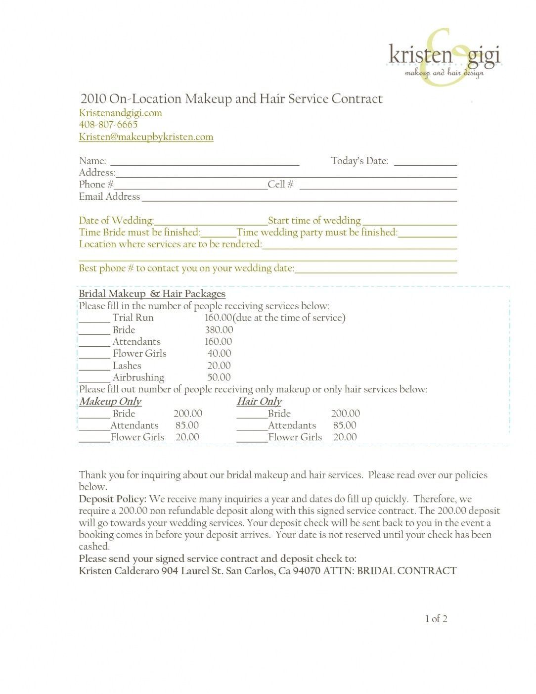 wedding hair and makeup contract template | hairstyles ideas