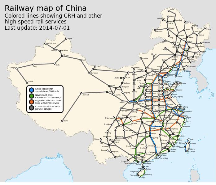 China rail network, by Howchou #map #china #rail | interesting stuff ...