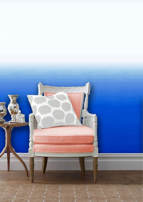 Blue Ombre Removable Peel 'n Stick Wallpaper by