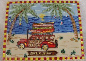 Surfin Safari Woodie Surfboard Palm Tree Decorative Wall Ceramic Art Tile 8x12