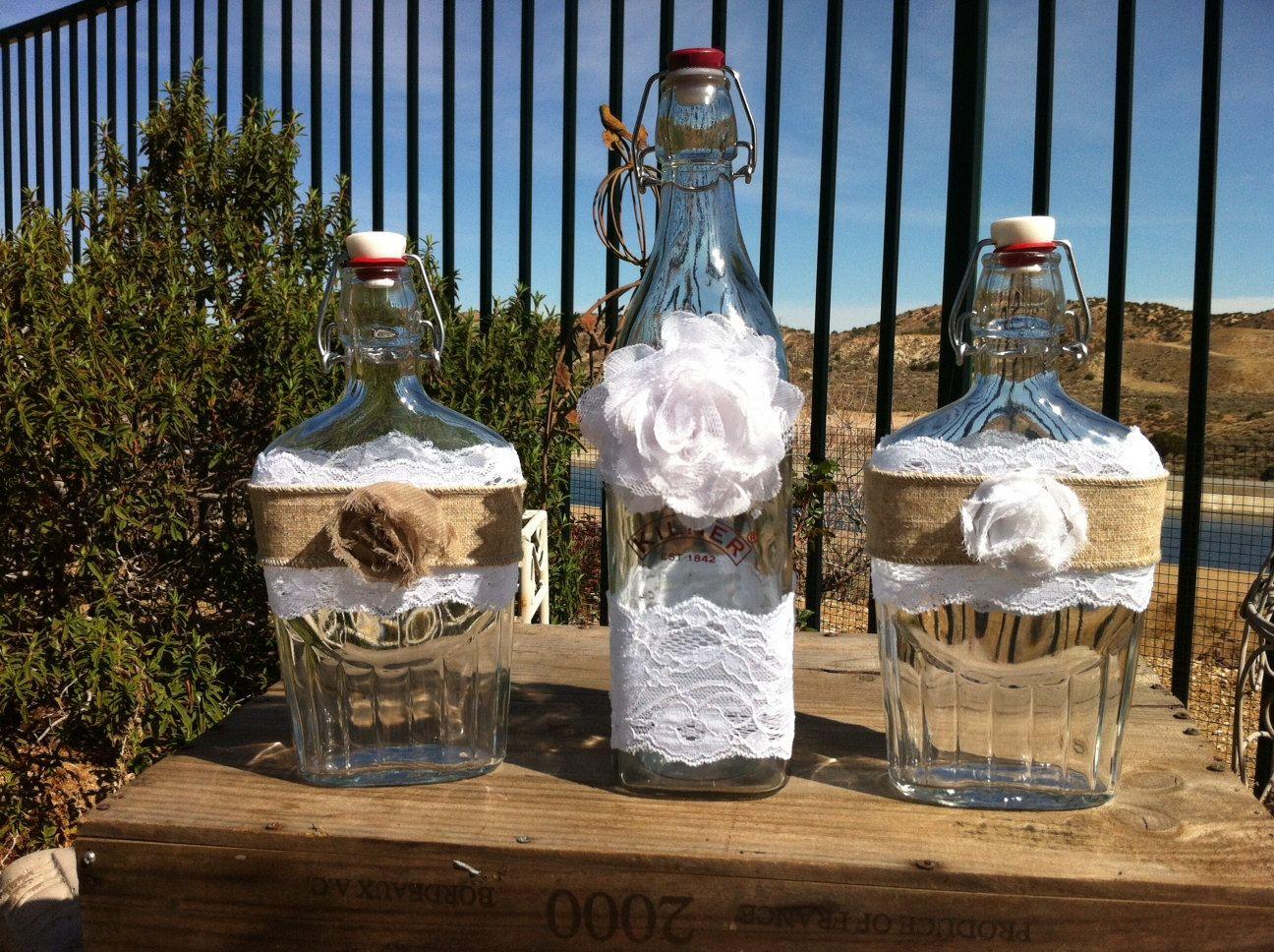 Wedding Sand Ceremony Bottles Vintage Glass by RusticChicBodyShop