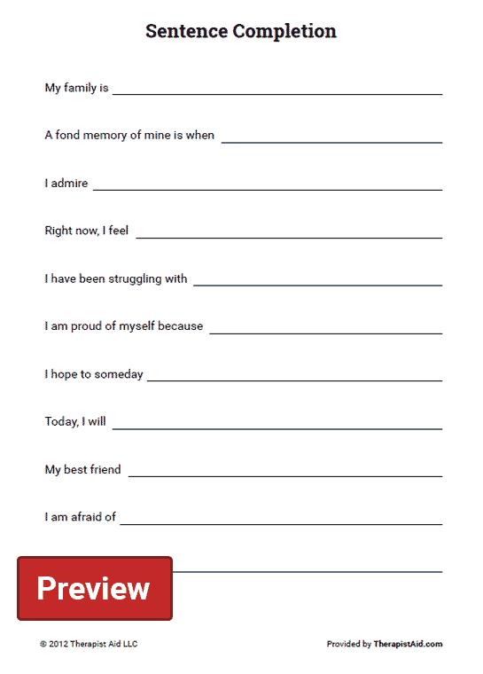 Self Exploration Sentence Completion Worksheet