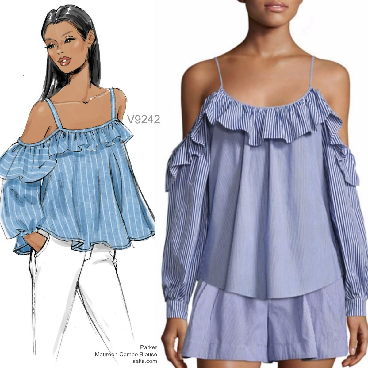 Sew The Look Vogue Patterns V9242 Off Shoulder Top Sewing Pattern Off Shoulder Fashion Ruffle Top Pattern Fashion Sewing
