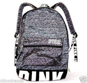 victoria 39 s secret pink campus backpack gray marl black white bookbag logo hot victoria secret. Black Bedroom Furniture Sets. Home Design Ideas