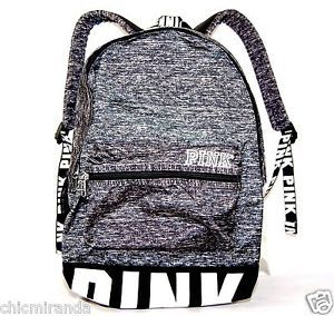 ebb9a7723813 Details about Victoria s Secret PINK Campus Backpack gray Marl Black ...