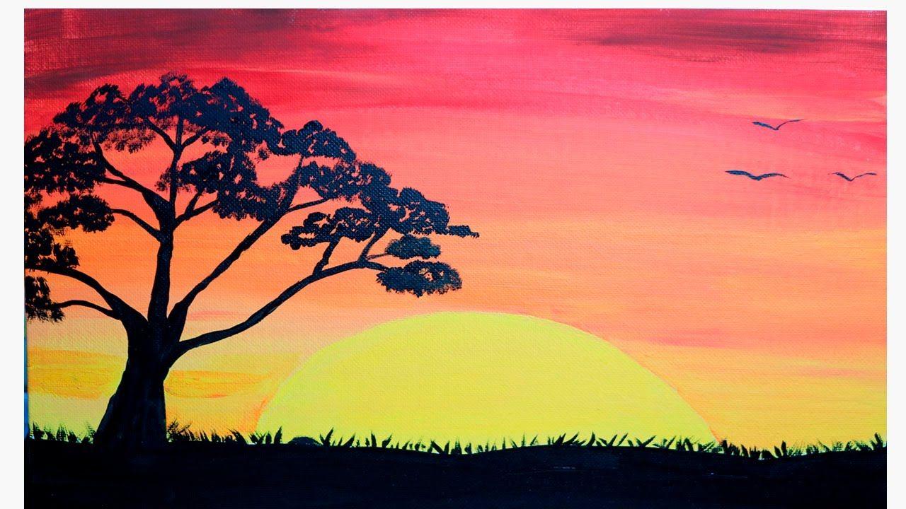 Como Pintar Un Atardecer Pintura Para Principiantes Youtube Paisaje Para Pintar Paisajes Para Pintar Faciles Dibujo Atardecer