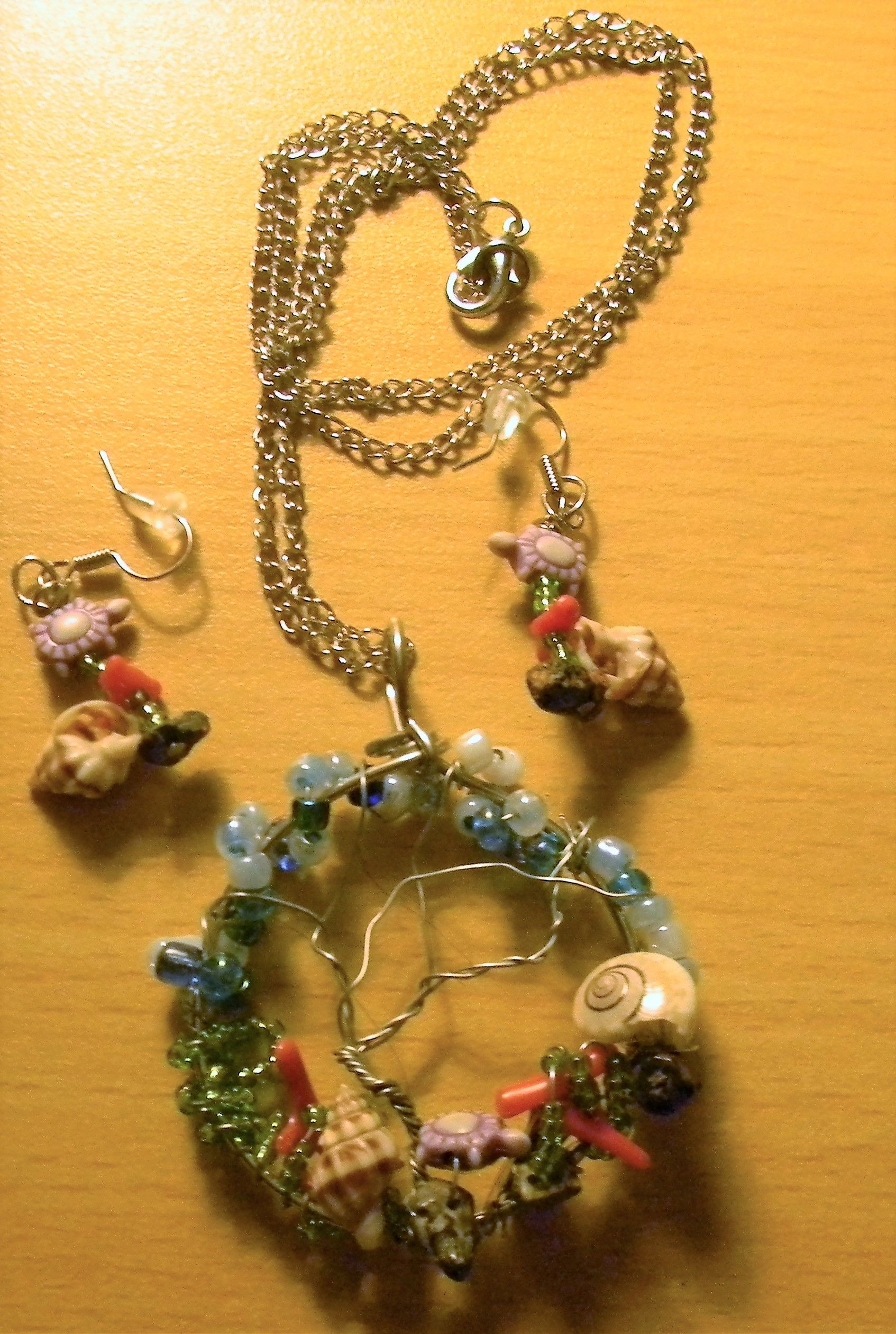 sealife tree of life earring and necklace set
