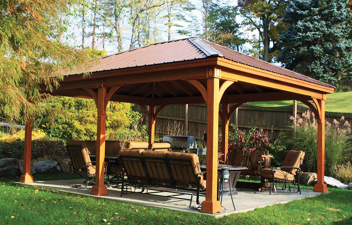 Best 16' X 20' Wood Pavilion Cedar Color Stain Brown 29 Gauge 400 x 300