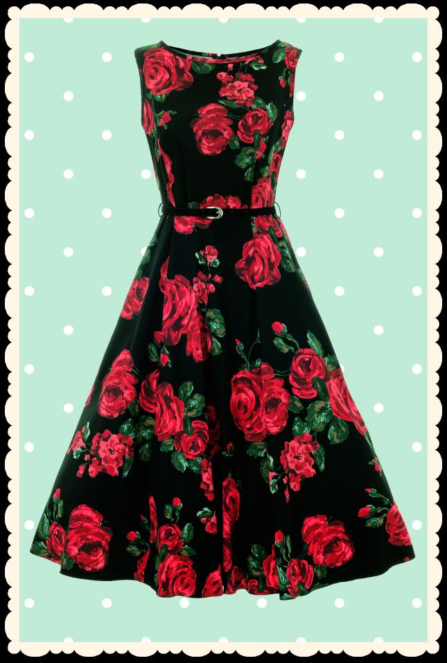 a9ec1c56740 Robe rétro pin-up à fleurs Hepburn roses rouge noir - Toutes les robes Robes  évasées - Lady Vintage - missretrochic.com