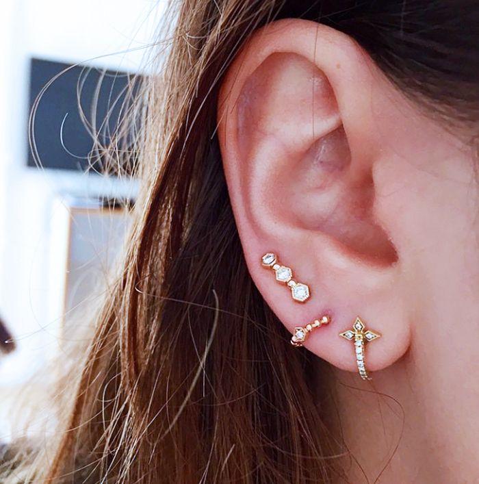 Jeanne Damas' layered stud earrings