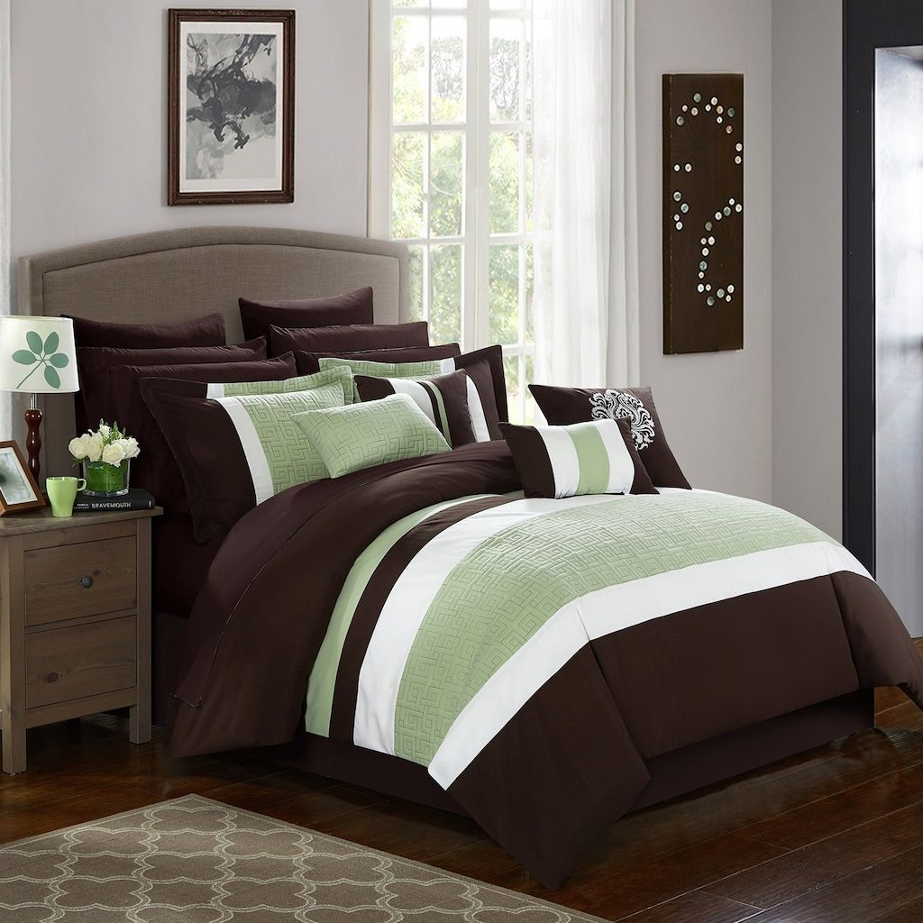 Pisa 16 Piece Comforter Bedding Set Brown Comforter Sets