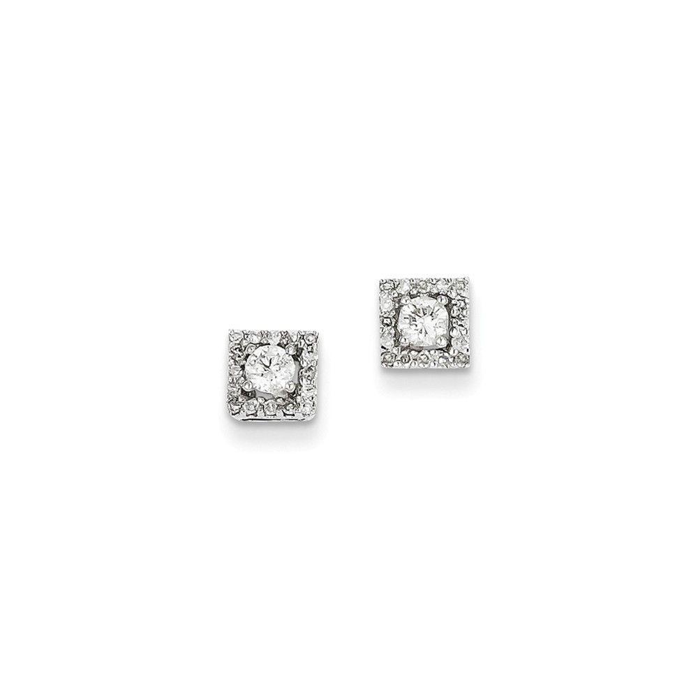 14k White Gold 0.13ct Diamond Square Post Earrings