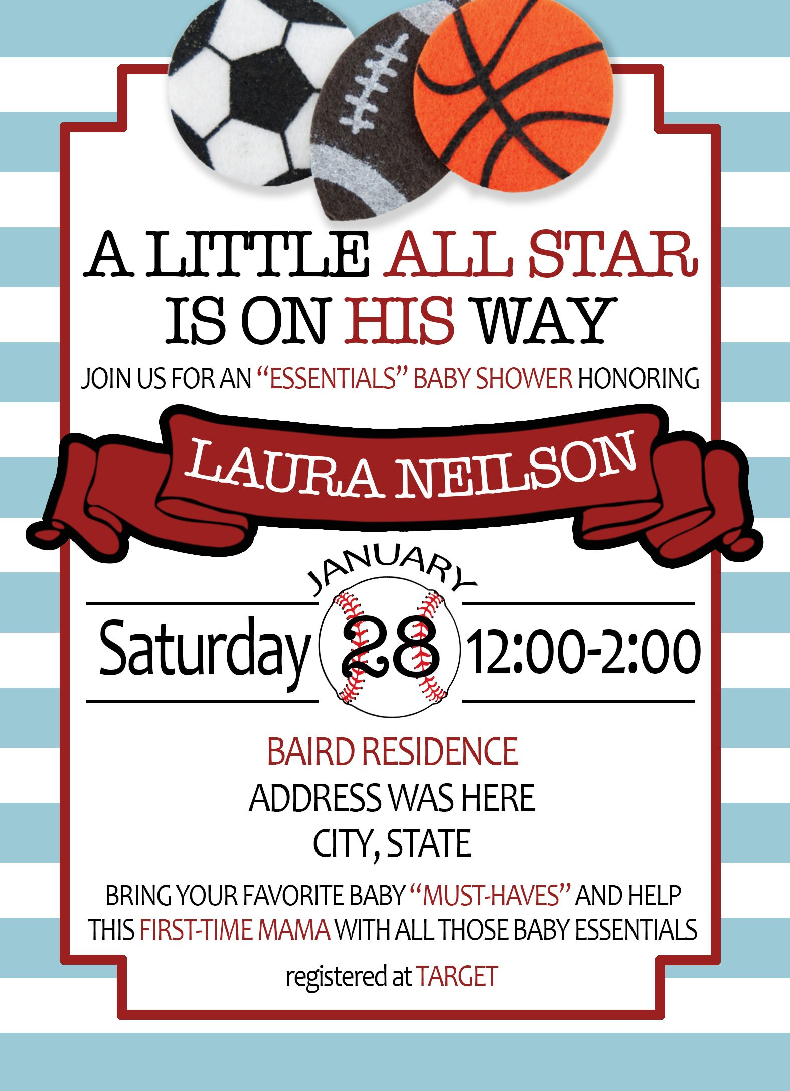 All Star Baby Shower Invitation | Camille Creates | Pinterest | Star ...