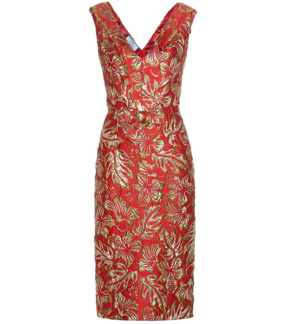 Prada Metallic CloquÉ Jacquard Dress In Rosso  ModeSens