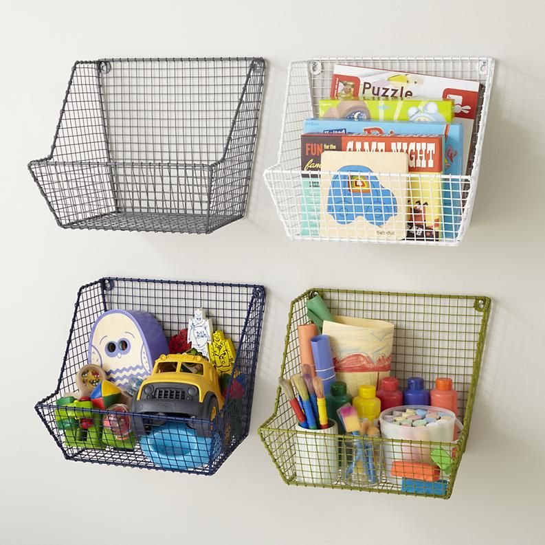 Wire Baskets For Wall Storage Love This Idea For Our Very Small Nursery Kids Storage Kids Shelves Kids Room