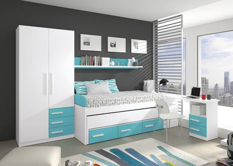Dormitorio juvenil de color blanco combinado con azul for Estructura cama 90x190