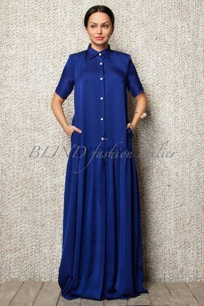 16fe781cd26 Платья ручной работы. Ярмарка Мастеров - ручная работа. Купить Платье из  вискозного шелка 00038. Handmade. Синий