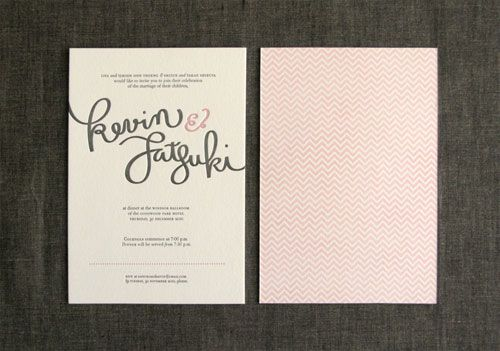 Kevin Satsukis Hand Lettered Letterpress Wedding Invites