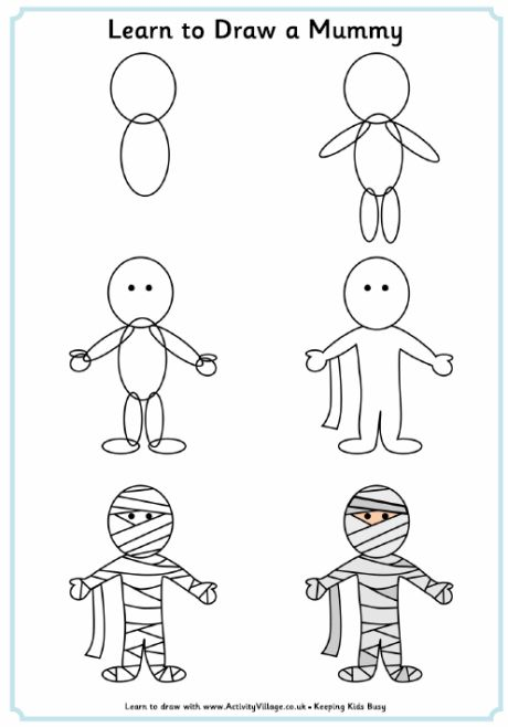Learn To Draw A Mummy Just For Fun Halloween Drawings Easy Halloween Drawings Easy Drawings