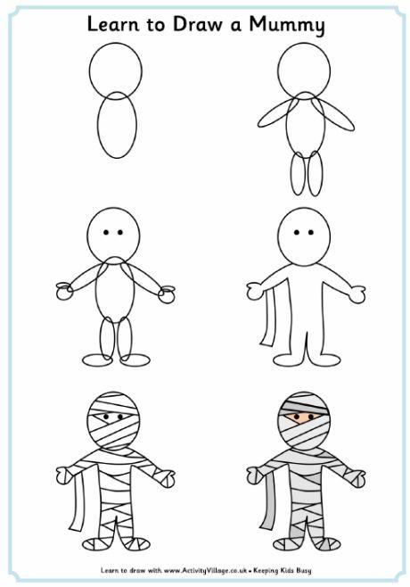 Learn To Draw A Mummy Just For Fun Dibujos Faciles Como Pintar Dibujos Egipto Dibujo