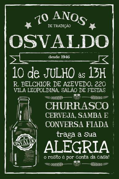 Convite De Anivers 225 Rio Chalkboard Verde Chalkboards And