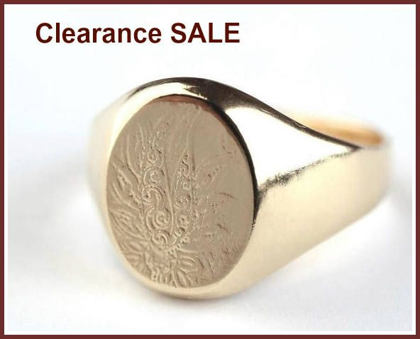 CLEARANCE SALE Flowers Signet Ring Engraved Ring 14K Gold