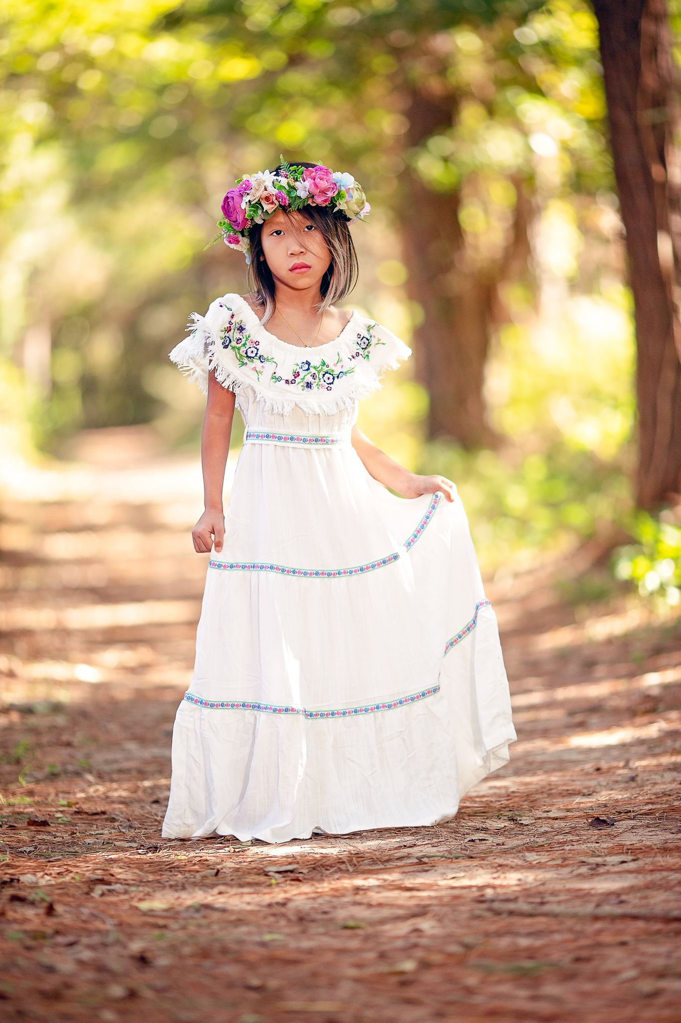 2332bd054a Vintage inspired bohemian chic off shoulder maxi dress with fringe detail  and floral embroidery. Fabulous as a flower girl dress or for a mommy and  me ...