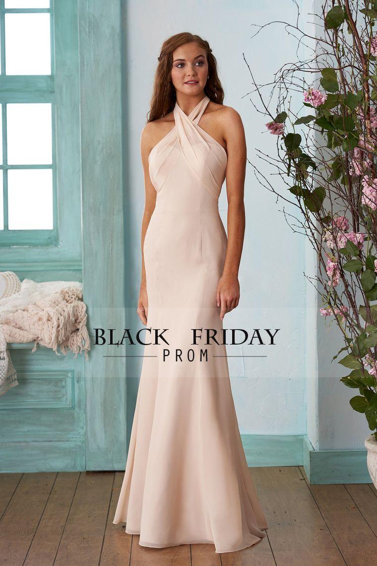 halter mermaid chiffon bridesmaid dresses with ruffles floor
