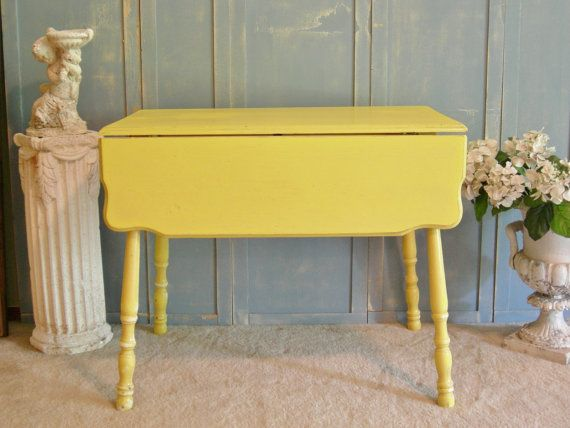 Drop Leaf Kitchen Table Shabby Chic Island Entry Console Yellow Painted Distressed Furniture Antique