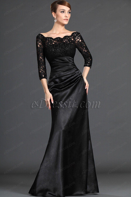 USD 140.81] eDressit Stylish Black Lace Sleeves Mother of the ...
