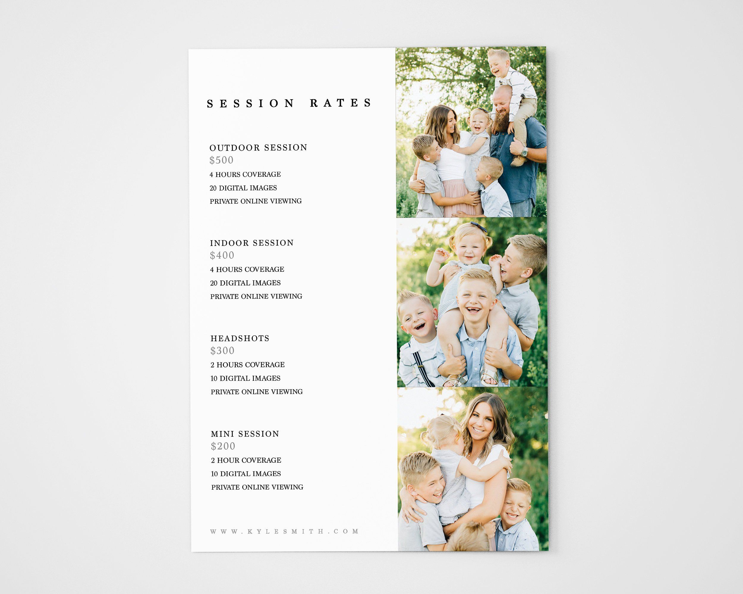 Editable Photography Pricing Template Price Guide List For