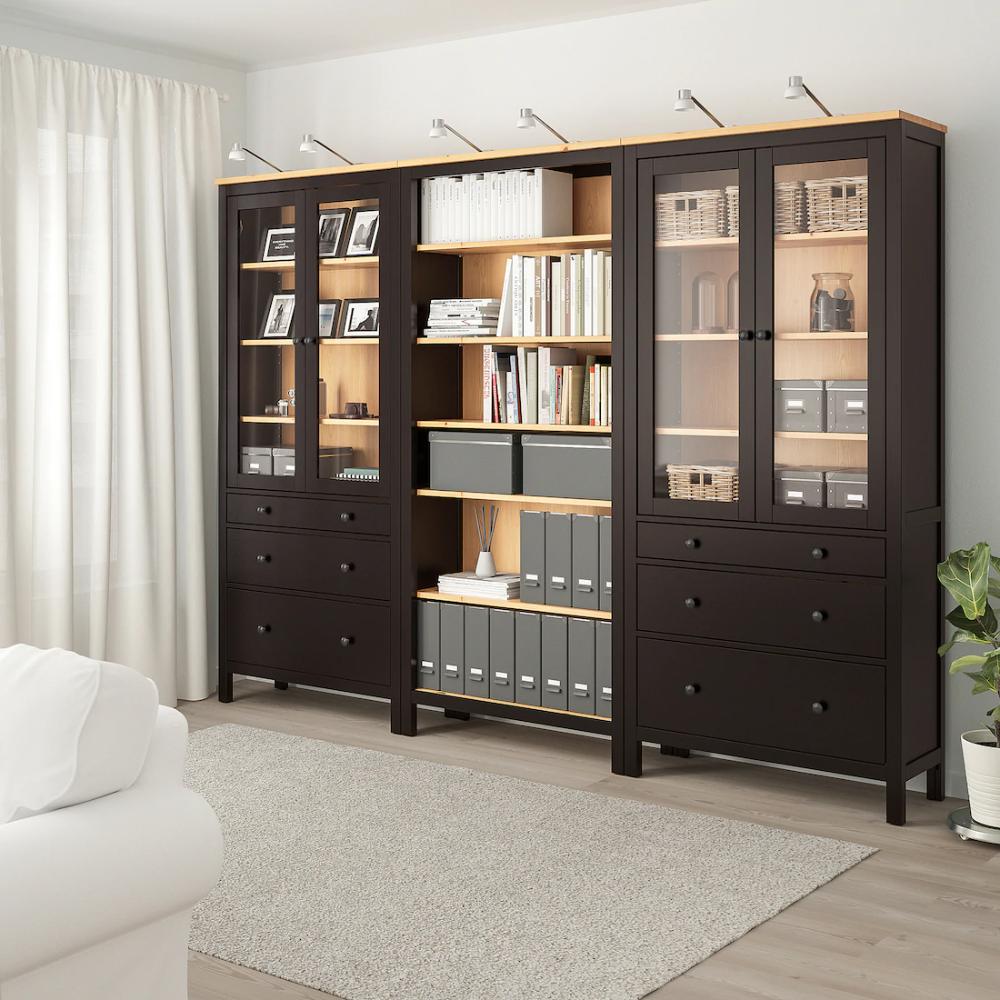 Hemnes Storage Combination W Doors Drawers Black Brown Light Brown 106 1 4x77 1 2 Ikea In 2020 Hemnes Hemnes Bookcase Ikea Hemnes