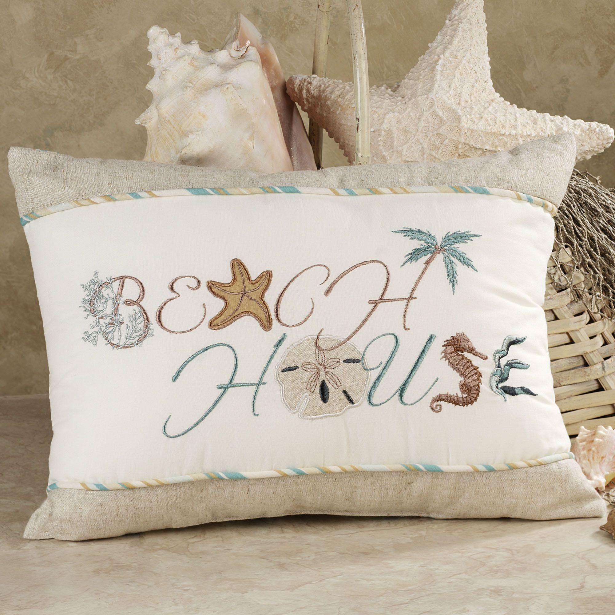 Beach Themed Pillows Decorative | Home Beach House Tailored Pillow Aqua Blue #pillows #pillowsforhome #beautifulpillows